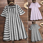 ZANZEA Women's Short Sleeve Summer Stripe Long Shirt Dress Casual Sundress Plus