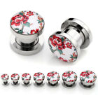 Stainless Steel Stereo Peony Floral Ear Studs Screw Tunnel Plugs Earlets Earring