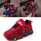 Kids Trainers LED Light Up Boys Girls Sports Sneakers Glowing Flashing Spiderman
