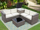 4pcs Patio Rattan Wicker Set Outdoor Furniture Sofa Cushioned W/storage Box