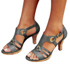 New Women Sandals Large Size Comfortable High Heels Shoes Buckle Strap Sandal h8