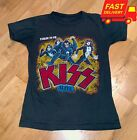 1977-78 KISS Vintage Concert Tour Rare Band Black T Shirt Size S-3XL image