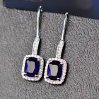925 Silver Plating Shiny Emerald/Oval Sapphire Drop/Dangle Earrings Jewelry Gift