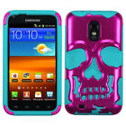 Skull Case +Silicone +Screen Film Cover For Epic Touch 4G D710/Galaxy S2 R760