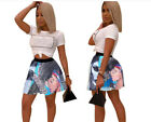 Hot women's ladies sexy cartoon print  Mini  A Line skirts pleated causal party