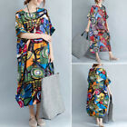 ZANZEA Women Ink Floral Print Long Maxi Dress Kaftan Tops Shirt Dress Kaftan US