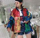 Womens Punk Glitter Bling Sequin Oversize Jacket Coat Casual Outwear Stitching R