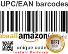 Barcodes EAN Codes UPC Barcode Code Amazon All Shops bar code codes  <br/> Instant delivery less than 1 minute
