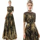 Gorgeous Gold Sequins Beaded Short Sleeve Ball Gown Cocktail Party Evening Dress