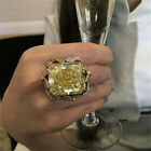 Gorgeous Princess Cut Huge 18K Gold Filled Citrine Ring Women Wedding Proposal