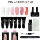 Used, Coscelia 6 Colors Poly UV Gel Kit Top Base Coat Extension Gel Kit Nail Tips Brus for sale  USA