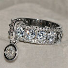 925 Silver White Topaz Fashion Jewelry Woman  Engagement Party Ring Size 5-11