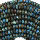 Faceted Brown Blue Turquoise Rondelle Beads 15.5