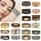 Women Multi-layer Leather Crystal Magnetic Clasp Bracelet Bangle Wristband Gifts image