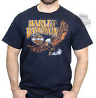 Harley-Davidson Mens Retro Vibe Eagle with B&S Navy Short Sleeve T-Shirt image