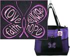 Purple Ribbon Awareness Butterfly Monogram Purple Gemline Tote Cancer Lupus Gift image