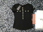 Black Women's Summer Tops Cotton Simple Gold Buttons Slim Tee Bal-main T-shirts