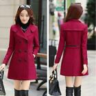 Korean Womens Slim Double breasted Wool Blend Trench Coat Wind Outwear Overcoat