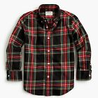 J.CREW CREWCUTS Boys Stretch Poplin Shirt STEWART BLACK TARTAN 3 4-5 8 10 12 14