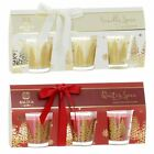 Luxury 3 Votive Candles Gift Set Glitter Christmas Tree Glass Jar Holder Scented