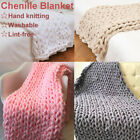 Winter Warm Chunky Knit Blanket Thick Yarn Hand Woven Bulky Knitted Throw Decor image
