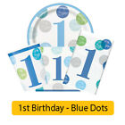 BLUE DOTS - Age 1/1st/First Birthday Party Range - Boy Tableware & Decorations