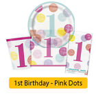 PINK DOTS - Age 1/1st/First Birthday Party Range - Girl Tableware & Decorations