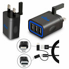 Fast 3 Port Wall Charger Power Adapter & Cable Micro USB Lightning USB-C Type C