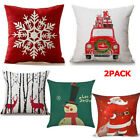 Christmas Pillow Case Santa Cotton Linen Sofa Car Throw Cushion Cover Home Decor image