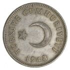 Roughly Size Of Quarter - 1948 Turkey 1 Lira - World Silver Coin - 7.5g *466