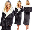 LADIES SOFT & COSY HOODED SHIMMER FLEECE DRESSING GOWN ROBE Sizes 8 - 22