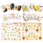 Autumn Nail Art Water Decals Transfer Stickers Flowers Maple Leaves Nail Tips