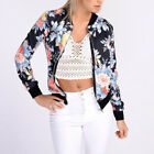 US Fashion Women Mens Retro Floral Flight Bomber Jacket Casual Coat Outwear