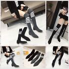 New striped stretch socks women's boots thick with long tube slim boots