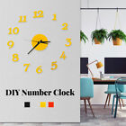 DIY Modern Acrylic Big Wall Number Clock Sticker Quiet Home Bedroom Office Decor