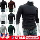 Men Long Sleeve Pullover High Neck Turtleneck Stretch Slim Basic T Shirt Tee Top image