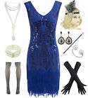 Women 1920s Flapper Dresses V Neck Beaded Fringed Gatsby Dress w Accessories