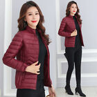 Women Ultralight Down Cotton Warm Jacket Winter Quilted Stand Collar Zip Up Coat