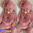 2PCS Newborn Infant Baby Girl Outfits Clothes Set Romper Jumpsuit Bodysuit+Hat