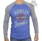 Harley-Davidson Mens Trademark B&S Blue Long Sleeve Jersey T-Shirt image