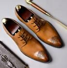 Mens Leather Shoes Dress Formal Pointy Toe Carved Oxfords Low Top Banquet Party