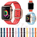 For Apple Watch 38 42 40 44 Series 1-5 Modern Buckle Genuine Leather Band Strap image