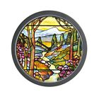 CafePress Tiffany Landscape Window Unique Decorative 10 Wall Clock (1172737348)