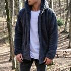 Mens Faux Fur Winter Warm Hooded Thick Coat Jacket Pocket Casual Hoodies Outwear