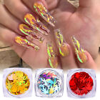 3D Nail Art Decorations Holographics Fire Nail Glitter Sequins Laser Flakes Tips