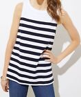 Ann Taylor LOFT Cotton Striped Shell Top Size X-Small, Small, X-Large Navy NWT