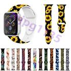 For Apple Watch iwatch Series 5/4/3 Flower Printed Silicone Strap Bracelet Band image