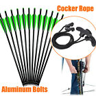 12X Crossbow Bolts Aluminum Shaft Arrows 16-22in +1 Cocker Rope Outdoor Hunting
