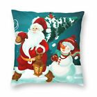 Santa Claus Throw Pillow Case Cushion Cover Mat Home Bed Sofa Xmas Home Decor