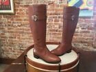 Isaac Mizrahi Cognac Brown Leather  Stretch Wide Calf Senso Riding Boots New